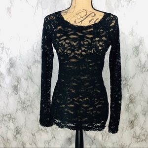 Moda International Sheer Lace Top